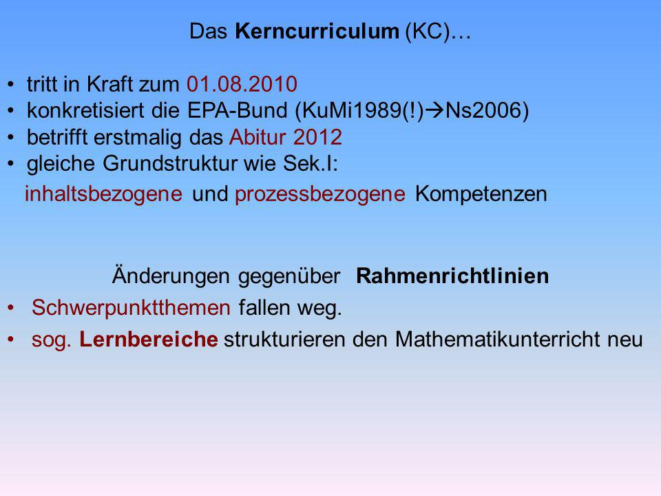 Das Kerncurriculum (KC)… tritt in Kraft zum 01.08.2010