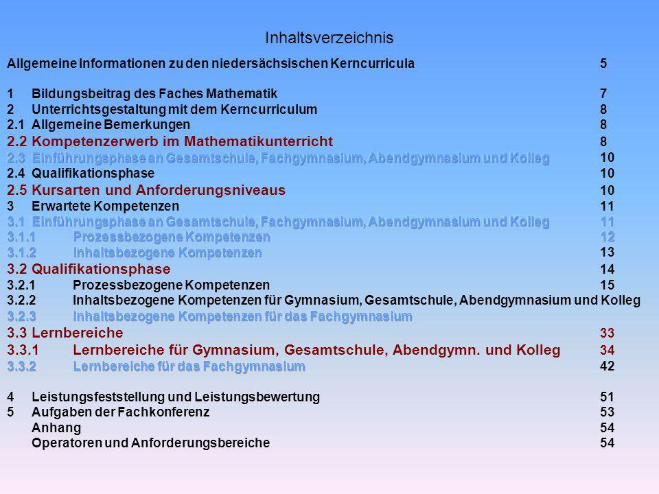 Inhaltsverzeichnis 2.2 Kompetenzerwerb im Mathematikunterricht 8