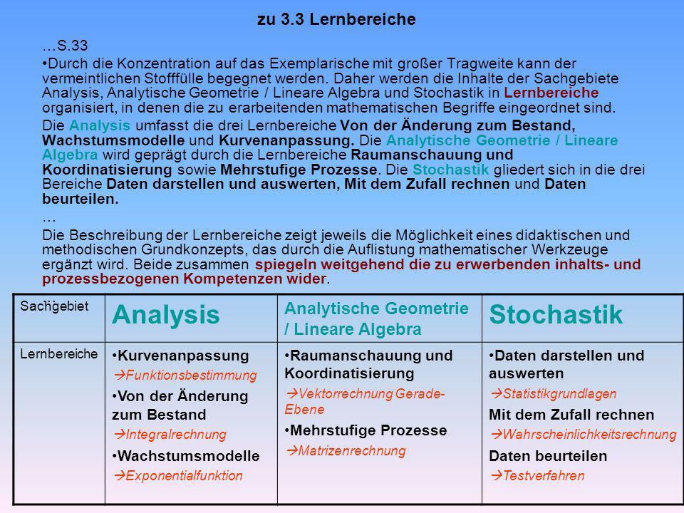 Analysis Stochastik zu 3.3 Lernbereiche