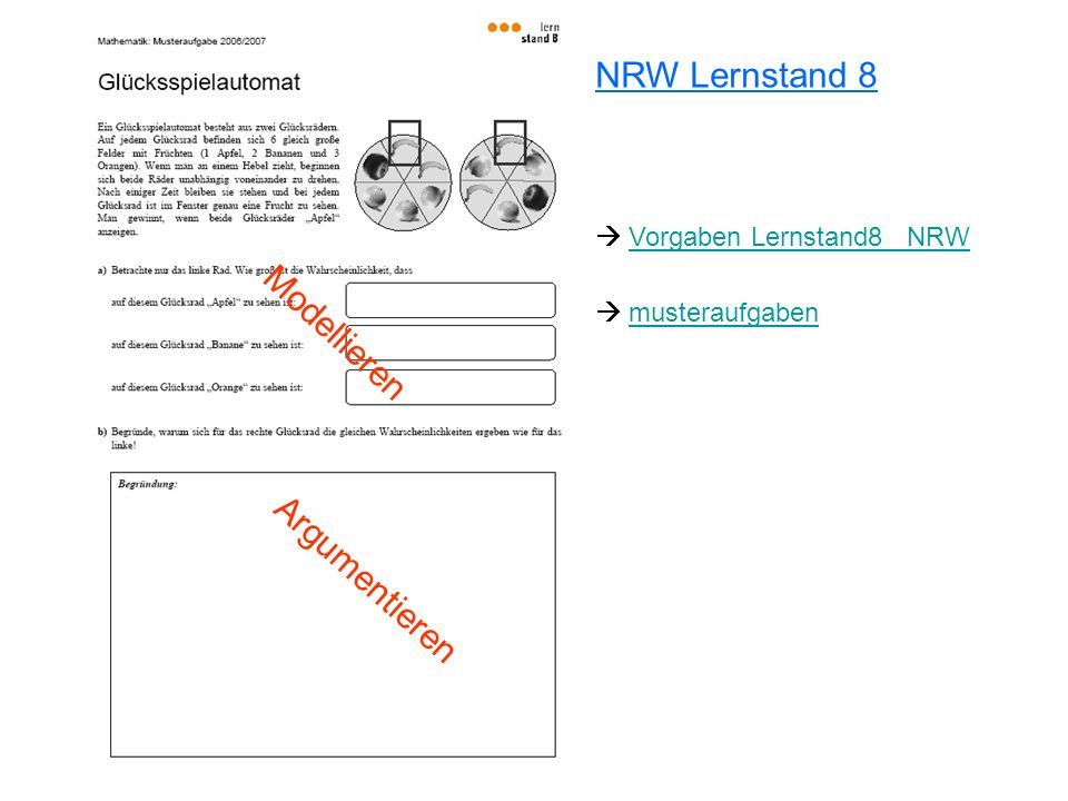 NRW Lernstand 8 Modellieren Argumentieren  Vorgaben Lernstand8_ NRW