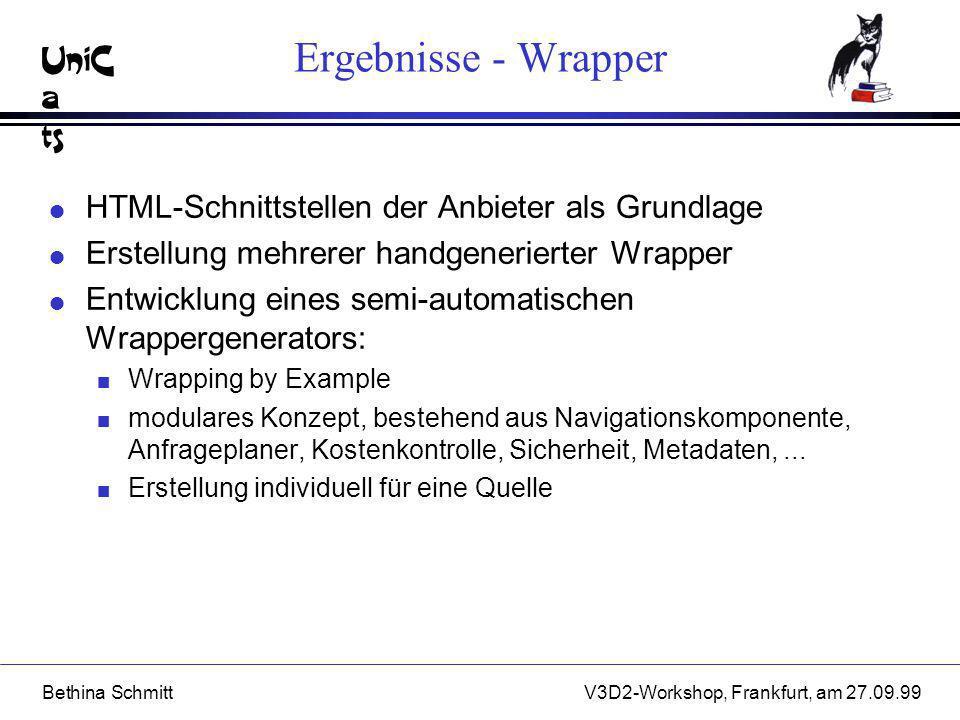 Ergebnisse - Wrapper HTML-Schnittstellen der Anbieter als Grundlage