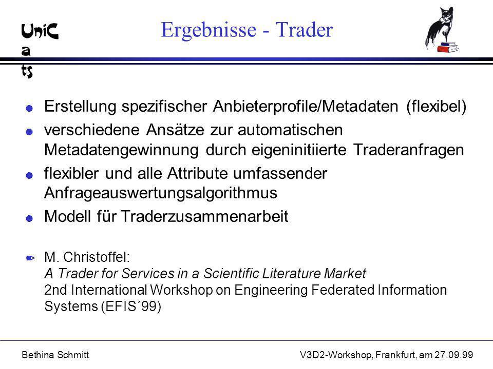 Ergebnisse - Trader Erstellung spezifischer Anbieterprofile/Metadaten (flexibel)