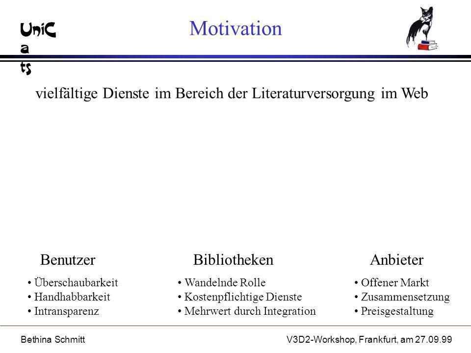 Motivation vielfältige Dienste im Bereich der Literaturversorgung im Web. Benutzer. Bibliotheken.