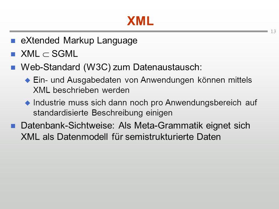 XML eXtended Markup Language XML  SGML