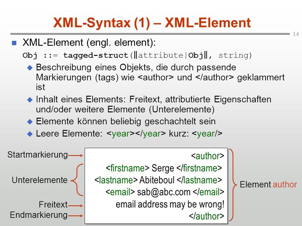 XML-Syntax (1) – XML-Element