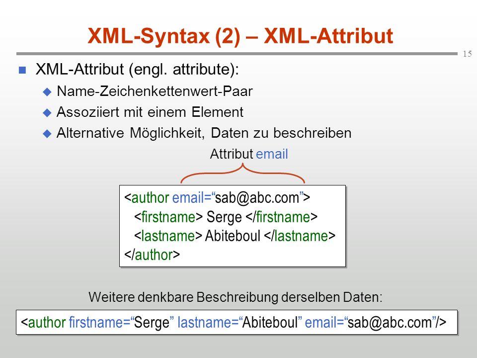 XML-Syntax (2) – XML-Attribut