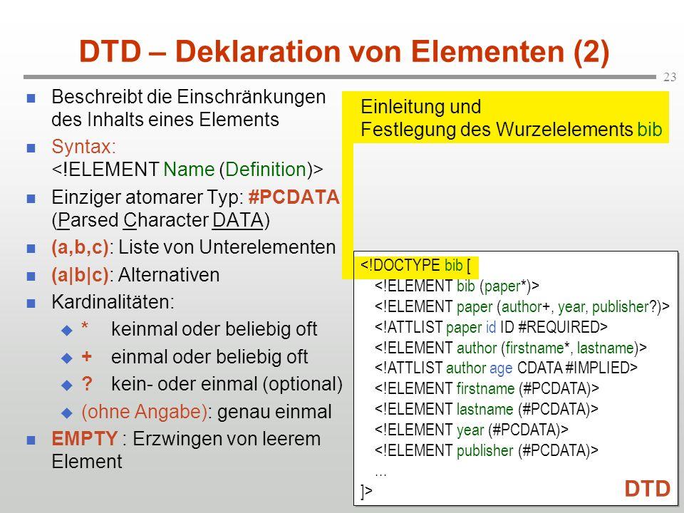DTD – Deklaration von Elementen (2)