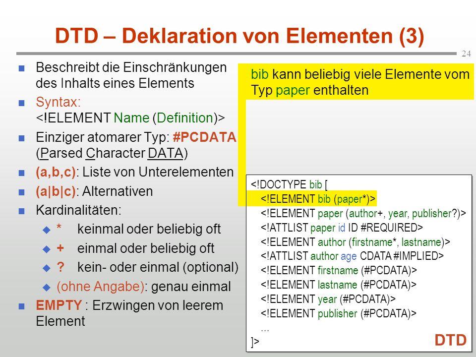 DTD – Deklaration von Elementen (3)