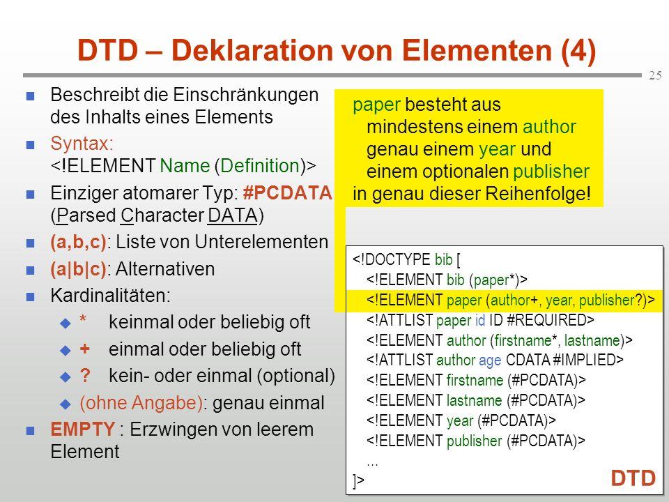 DTD – Deklaration von Elementen (4)