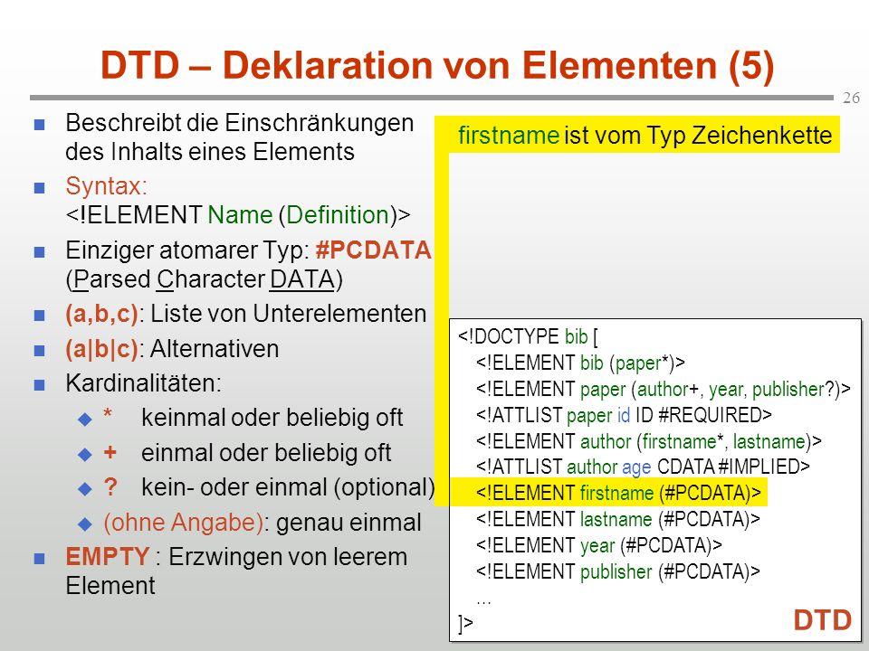 DTD – Deklaration von Elementen (5)