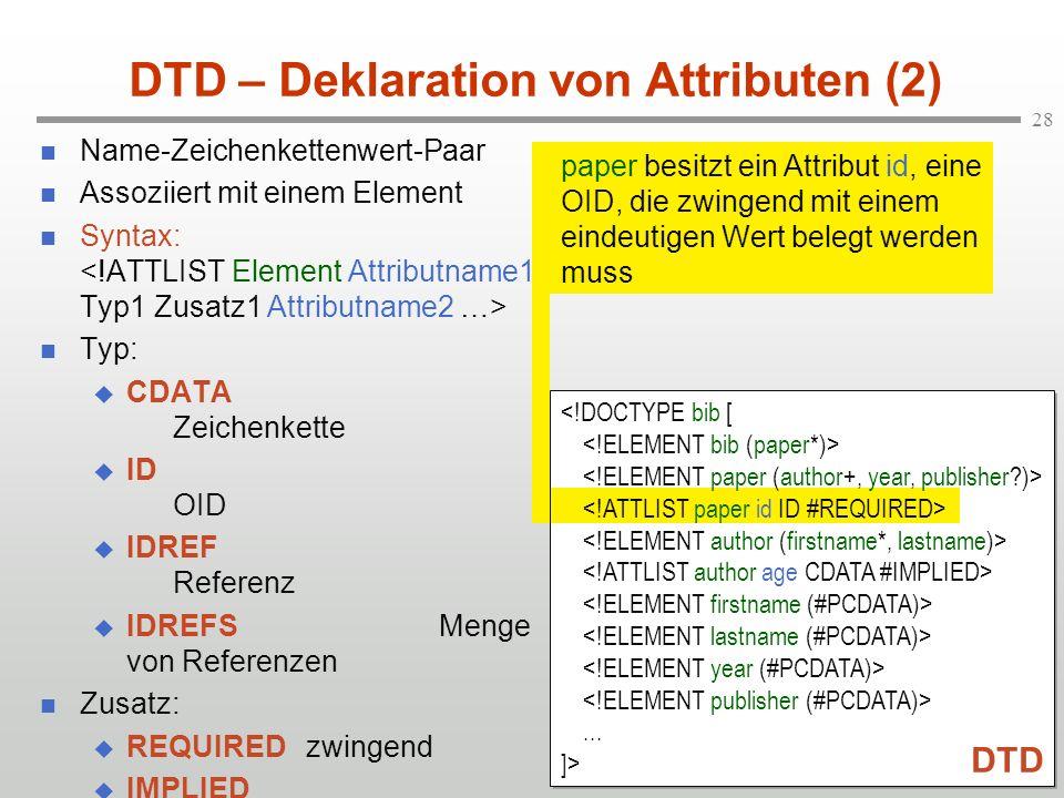DTD – Deklaration von Attributen (2)