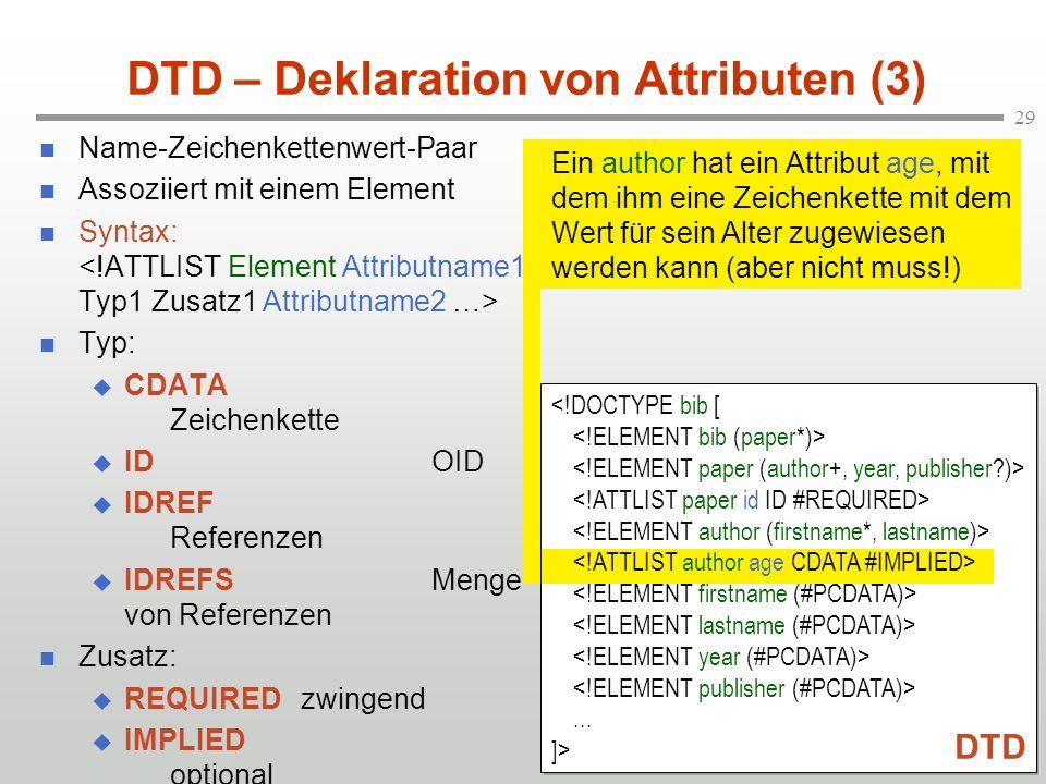 DTD – Deklaration von Attributen (3)