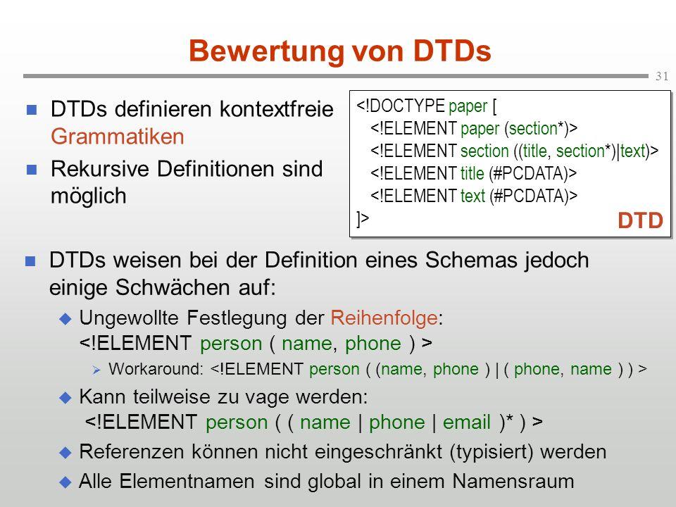 Bewertung von DTDs DTDs definieren kontextfreie Grammatiken