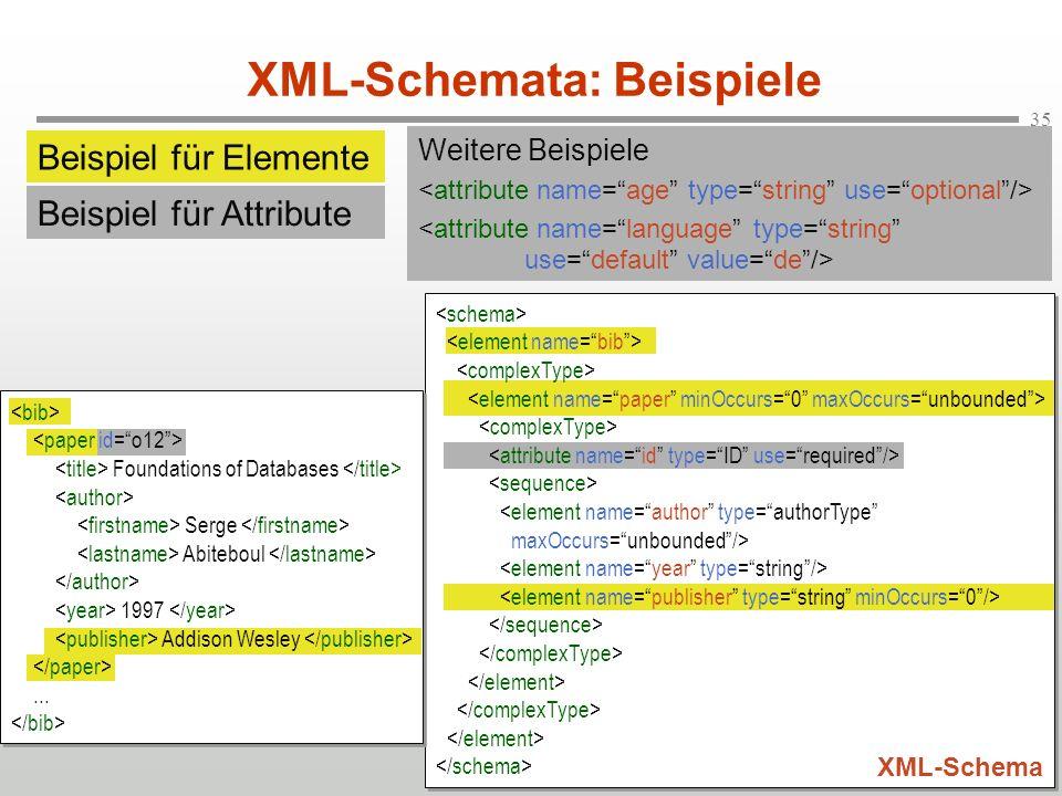 XML-Schemata: Beispiele