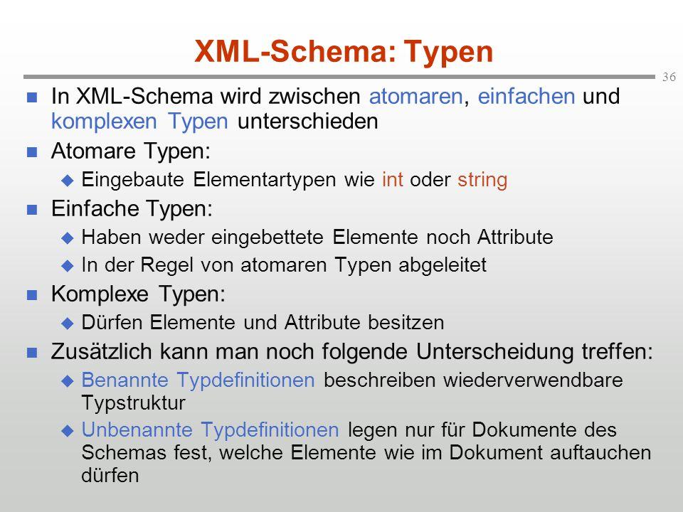 XML-Schema: Typen In XML-Schema wird zwischen atomaren, einfachen und komplexen Typen unterschieden.