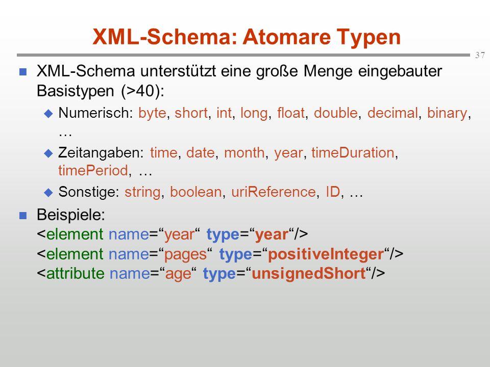 XML-Schema: Atomare Typen