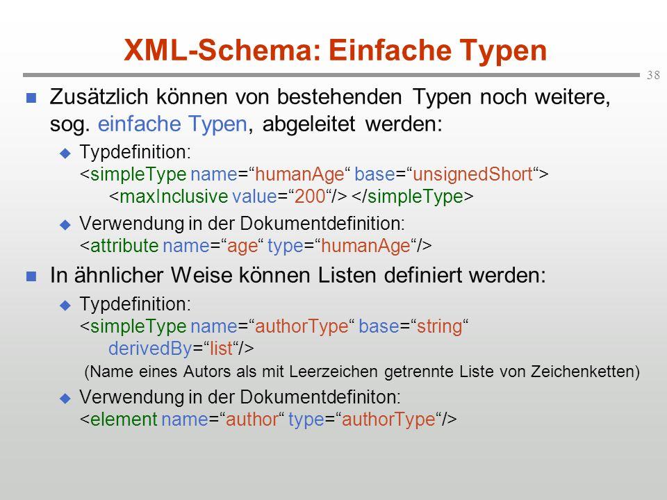 XML-Schema: Einfache Typen