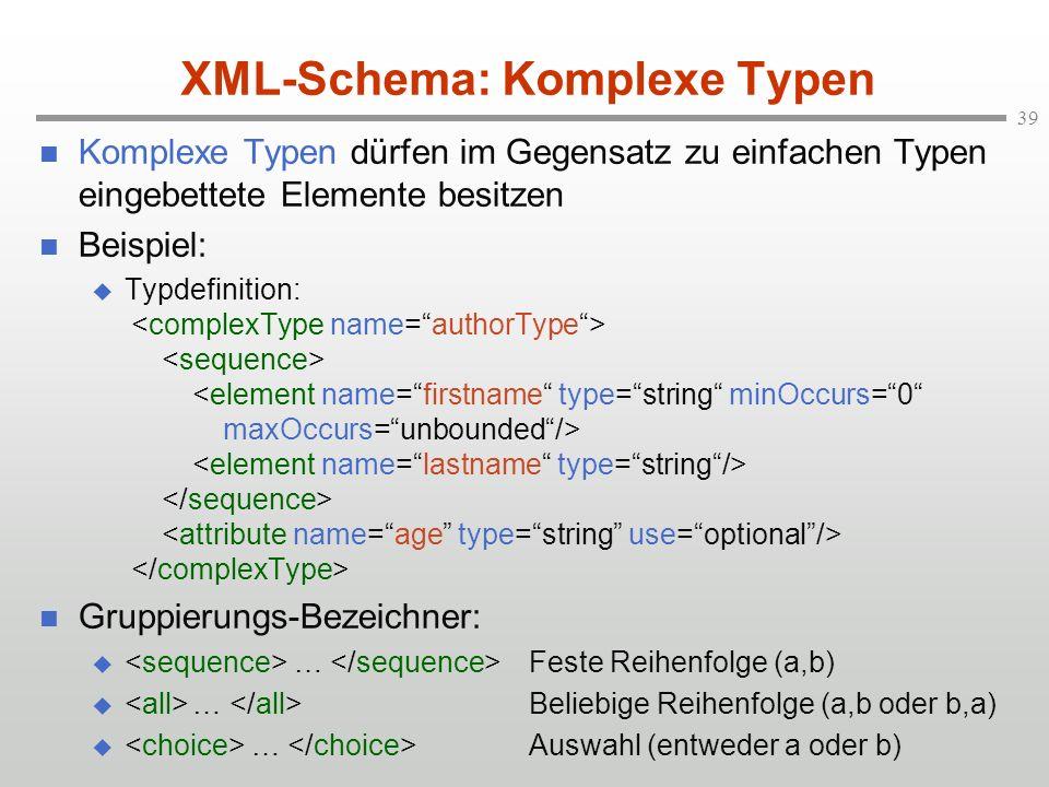 XML-Schema: Komplexe Typen
