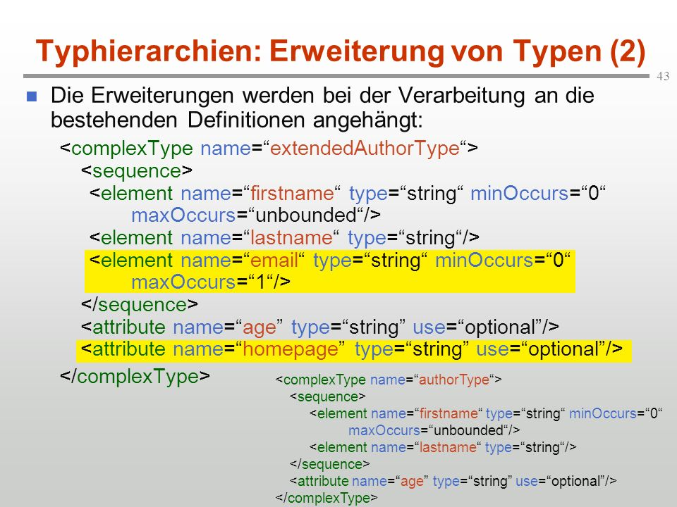 Typhierarchien: Erweiterung von Typen (2)