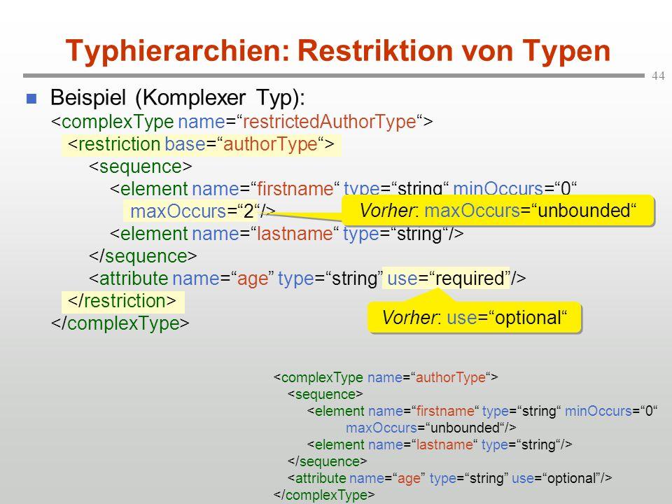 Typhierarchien: Restriktion von Typen