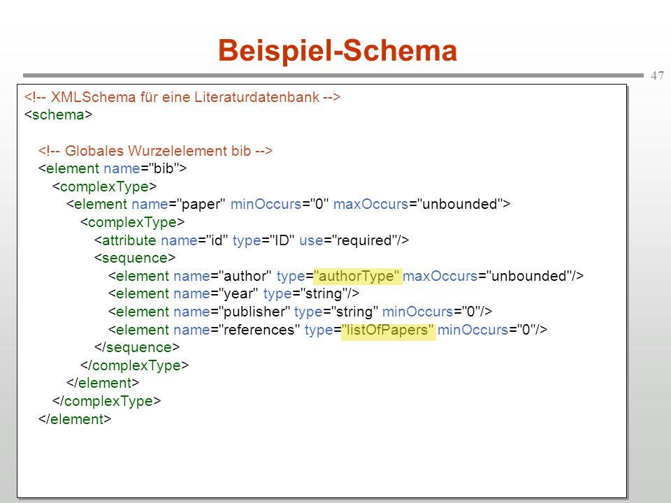 Beispiel-Schema <!-- XMLSchema für eine Literaturdatenbank -->