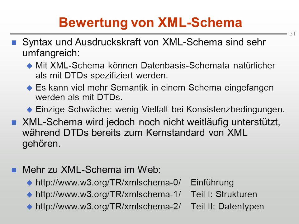 Bewertung von XML-Schema