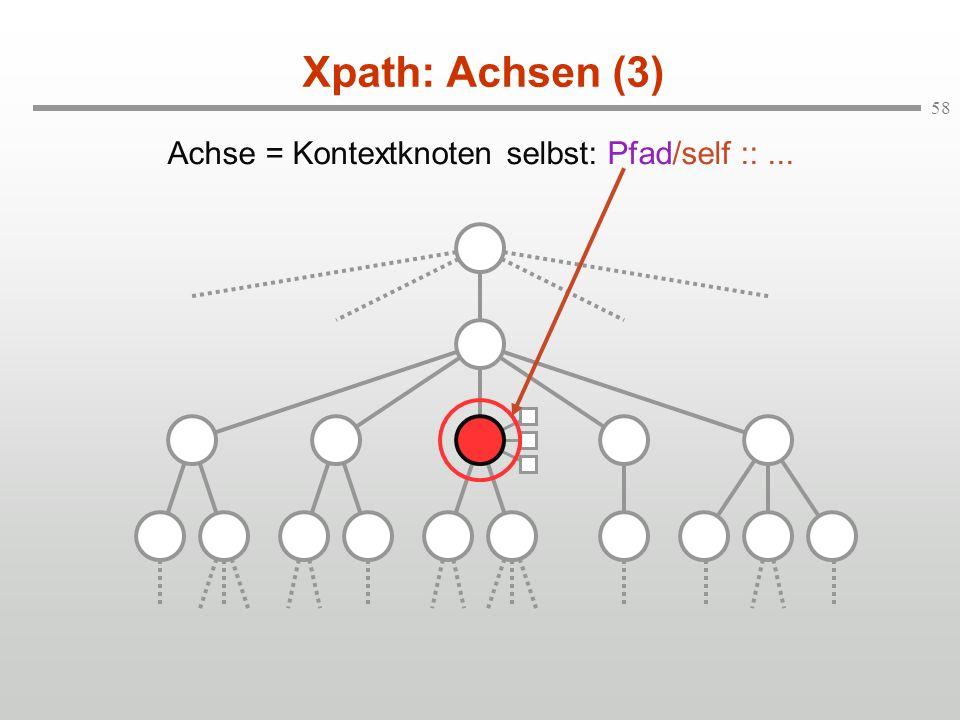 Achse = Kontextknoten selbst: Pfad/self :: ...