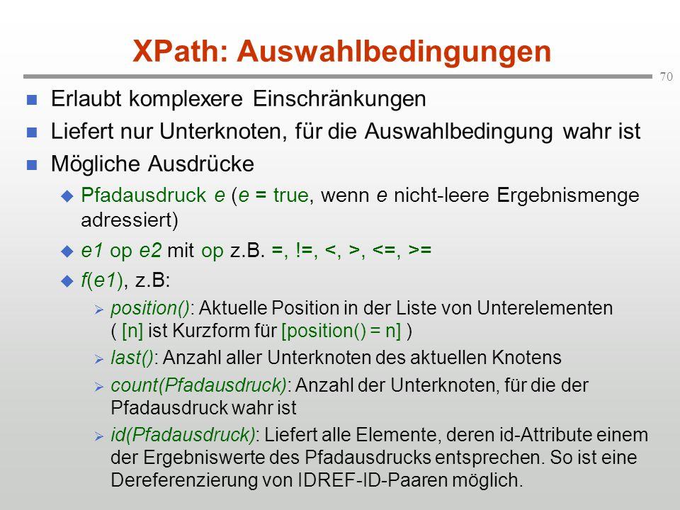 XPath: Auswahlbedingungen