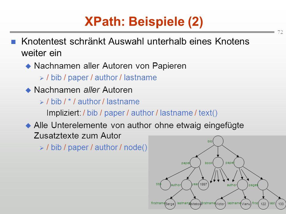 XPath: Beispiele (2) Knotentest schränkt Auswahl unterhalb eines Knotens weiter ein. Nachnamen aller Autoren von Papieren.