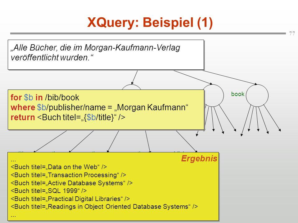 """XQuery: Beispiel (1) """"Alle Bücher, die im Morgan-Kaufmann-Verlag veröffentlicht wurden. bib."""