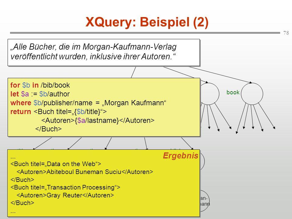 """XQuery: Beispiel (2) """"Alle Bücher, die im Morgan-Kaufmann-Verlag veröffentlicht wurden, inklusive ihrer Autoren."""