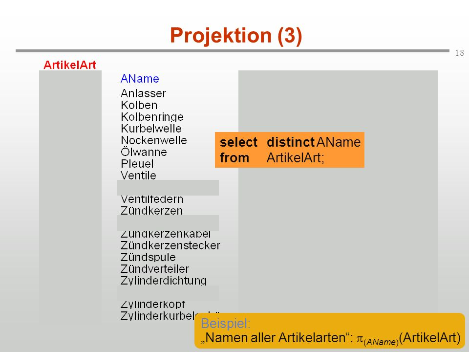 Projektion (3) select distinct AName from ArtikelArt; Beispiel: