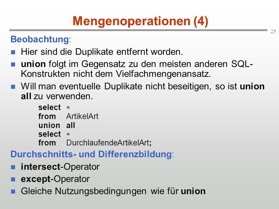 Mengenoperationen (4) Beobachtung:
