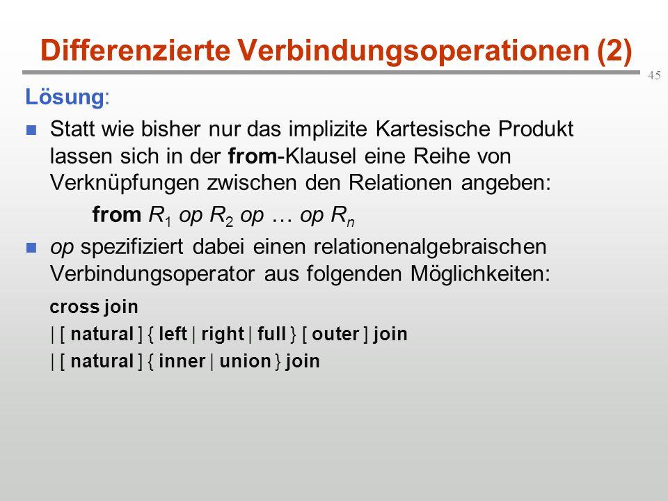 Differenzierte Verbindungsoperationen (2)