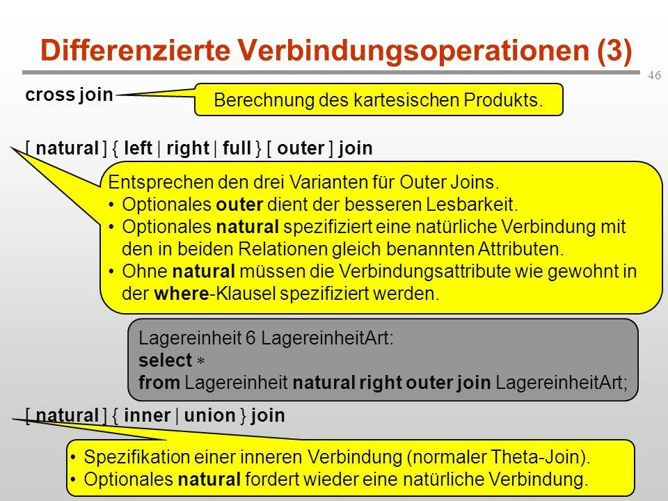 Differenzierte Verbindungsoperationen (3)