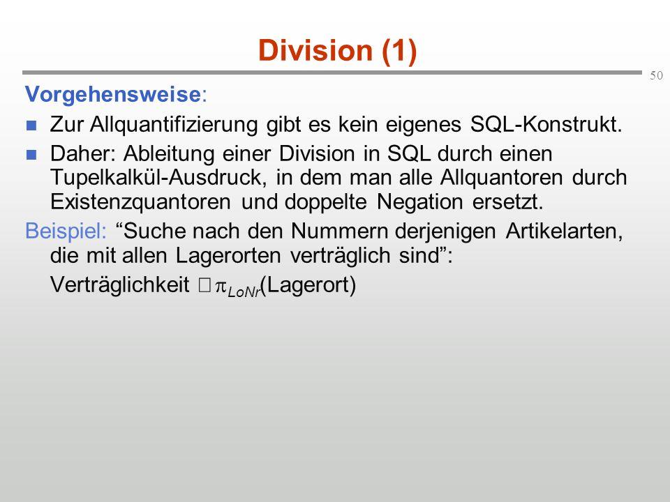 Division (1) Vorgehensweise: