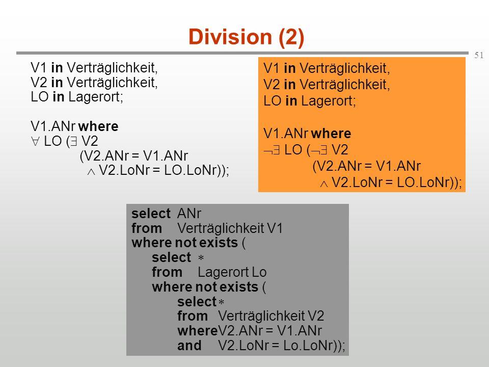 Division (2) V1 in Verträglichkeit, V1 in Verträglichkeit,
