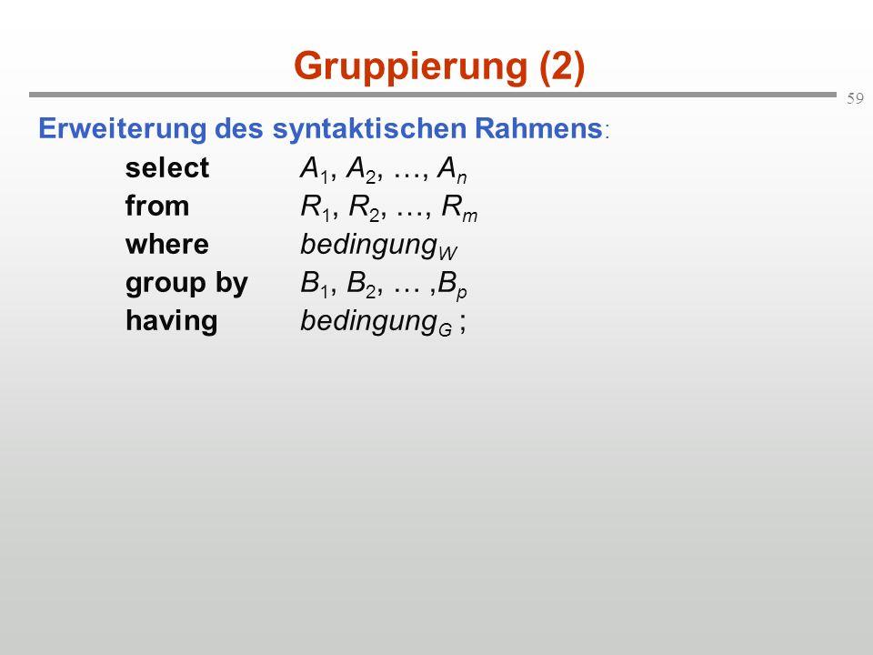 Gruppierung (2) Erweiterung des syntaktischen Rahmens: