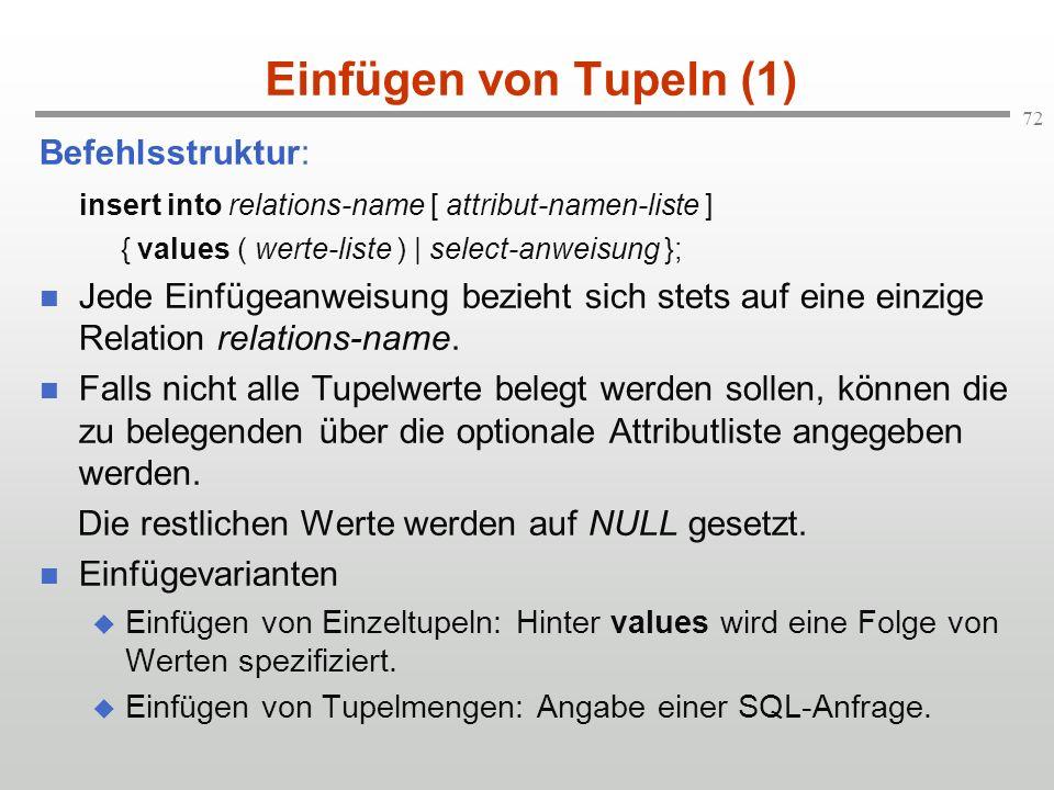 Einfügen von Tupeln (1) Befehlsstruktur:
