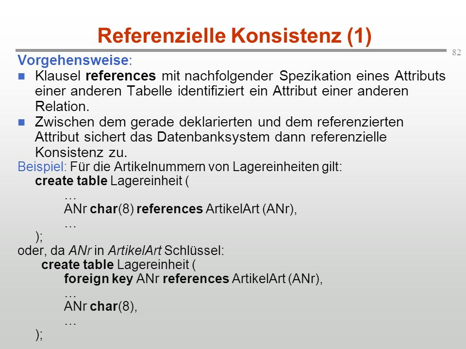 Referenzielle Konsistenz (1)