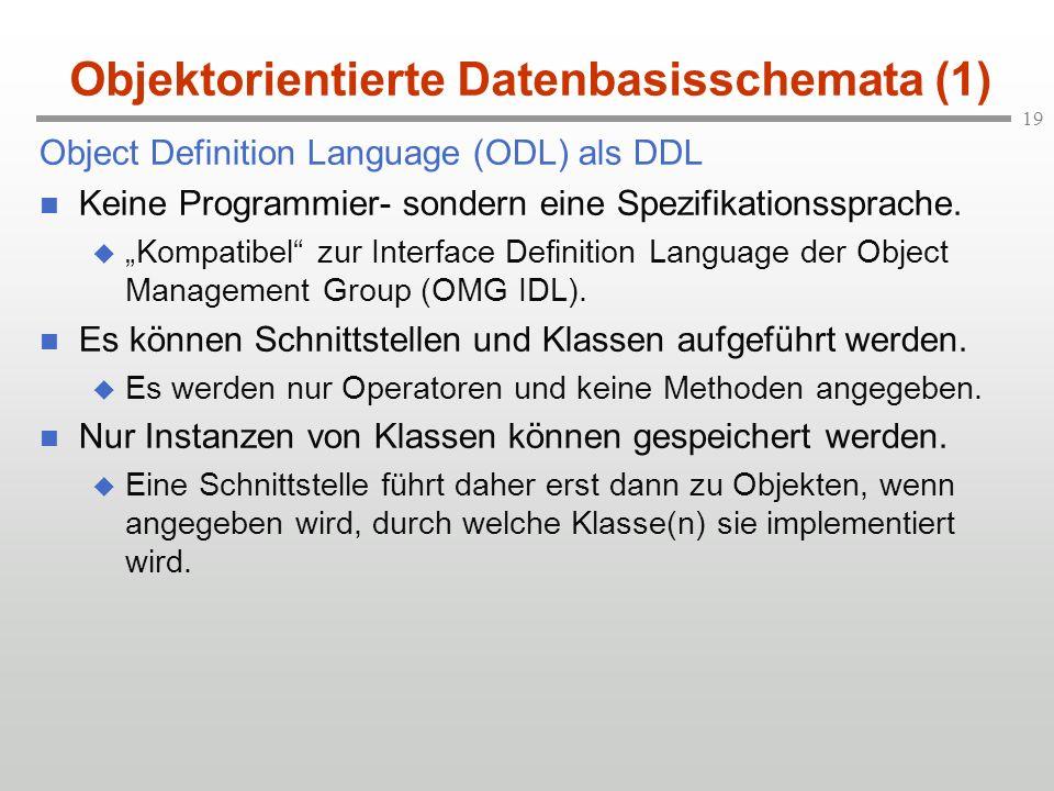 Objektorientierte Datenbasisschemata (1)