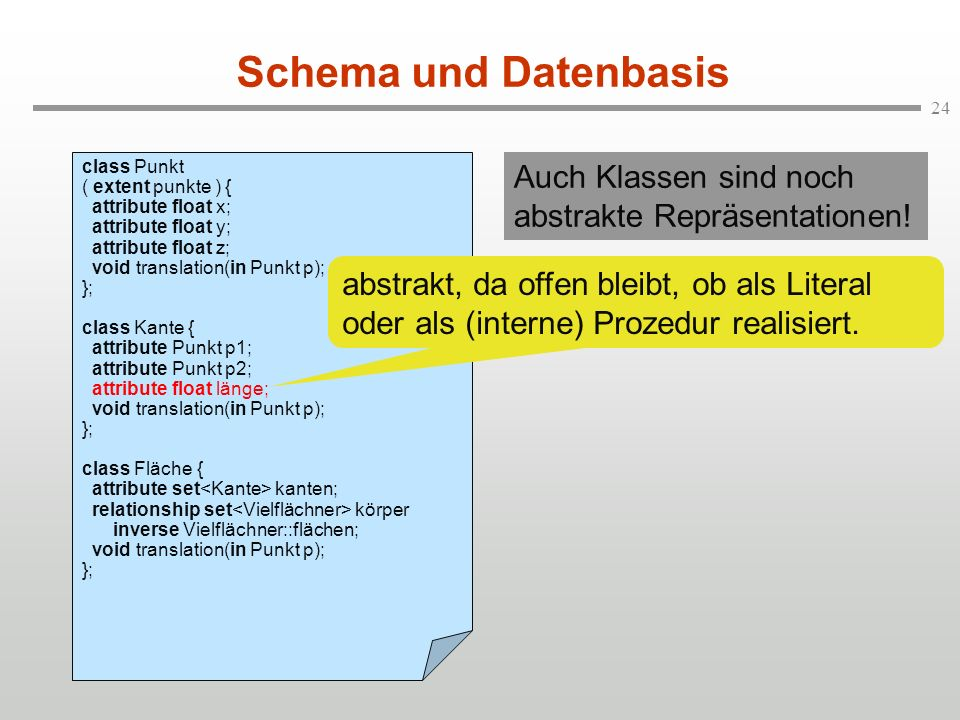 Schema und Datenbasis class Punkt. ( extent punkte ) { attribute float x; attribute float y; attribute float z;
