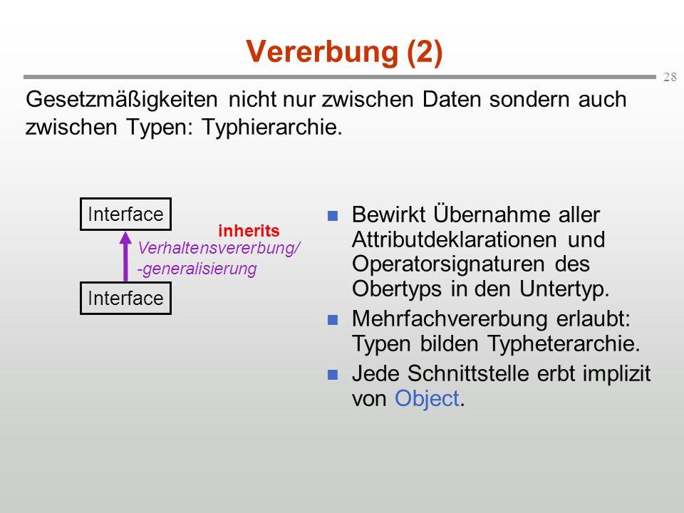 Vererbung (2) Gesetzmäßigkeiten nicht nur zwischen Daten sondern auch zwischen Typen: Typhierarchie.