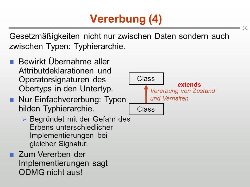 Vererbung (4) Gesetzmäßigkeiten nicht nur zwischen Daten sondern auch zwischen Typen: Typhierarchie.