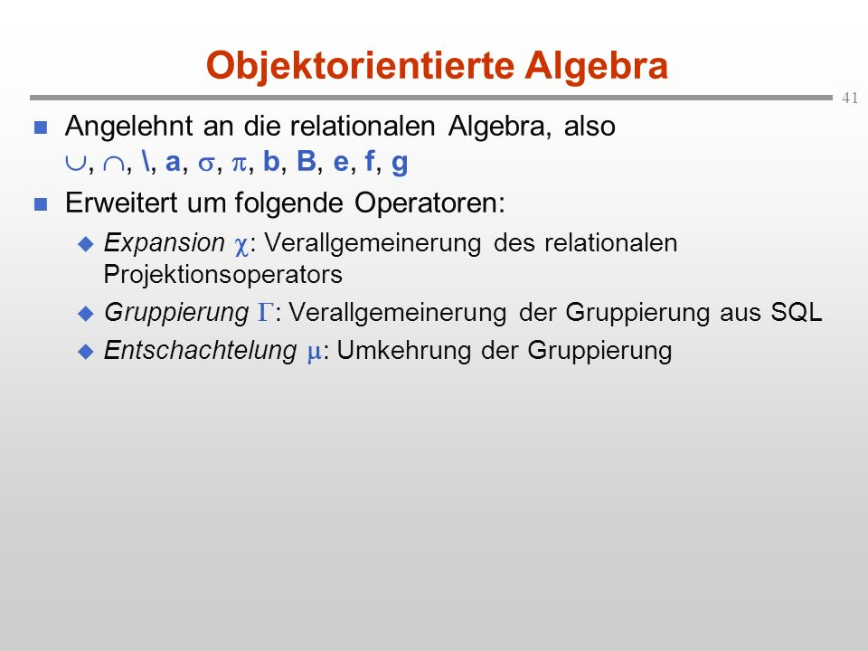 Objektorientierte Algebra