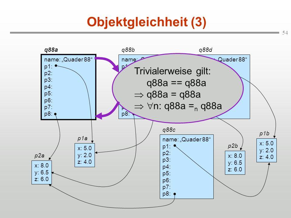 Objektgleichheit (3) Trivialerweise gilt: q88a == q88a  q88a = q88a