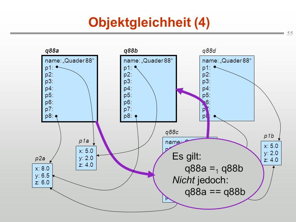 Objektgleichheit (4) Es gilt: q88a =1 q88b Nicht jedoch: q88a == q88b
