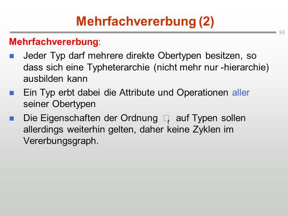 Mehrfachvererbung (2) Mehrfachvererbung: