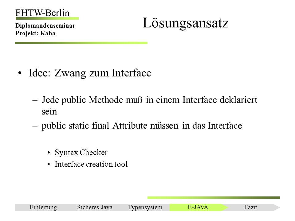 Lösungsansatz Idee: Zwang zum Interface