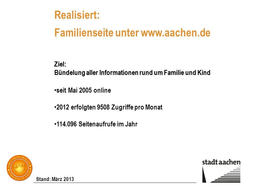 Realisiert: Familienseite unter www.aachen.de